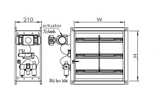 Sản phẩm Van gió đóng mở bằng khí nén của công ty Loa Thành (Thiết kế cơ sở)