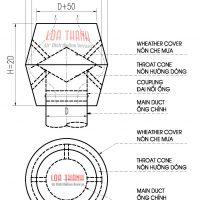 Bản vẽ tiêu chuẩn chụp che mưa kiểu ống khói (Wheather proof cover chimney type)
